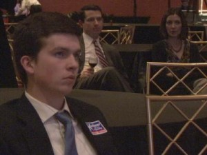 Syracuse University student, Dan Fitzpatrick, sits awaiting Kuehner's election results as the ballots are counted.